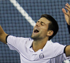 Novak Djokovic of Serbia reacts after winning the men's championship match against Rafael Nadal of Spain at the U.S. Open tennis tournament in New York.