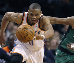 Westbrook`s 3s leads Thunder past Celtics 97-88