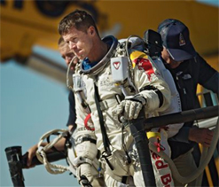 Austrian skydiver Felix Baumgartner enters history books after record-breaking jump