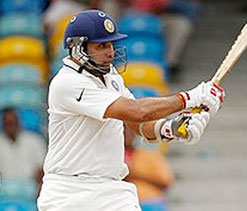 Laxman hits 55th first-class ton against Madhya Pradesh