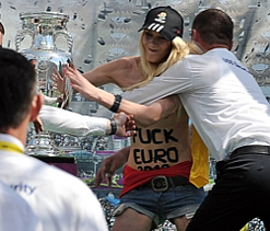 Topless protest at Euro 2012 trophy display