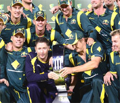 Lorgat presents ICC ODI Shield to Australia