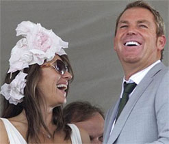 Warnie ` happy for the first time in life` with Liz Hurley