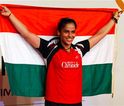 Saina Nehwal felicitated after returning home