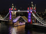 Tower Bridge is lit up by new dynamic lighting during the launch of the lighting system, in readiness for the Queen`s Diamond Jubilee and London 2012 Olympic Games, London.