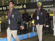 Members of the Indian Olympic Team arrive at Heathrow Airport in London.
