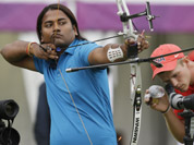 India`s Jayanta Talukdar aims for the target during an individual ranking round at the 2012 Summer Olympics in London.