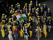 India`s Sushil Kumar carries the flag during the Opening Ceremony at the 2012 Summer Olympics  in London.