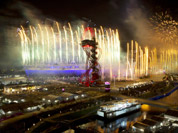 Fireworks light up the Olympic Stadium during the Opening Ceremony for the 2012 Summer Olympics in London.