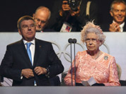 Britain`s Queen Elizabeth II, declares the games open alongside International Olympic Committee Vice President Thomas Bach during the Opening Ceremony at the 2012 Summer Olympics in London.