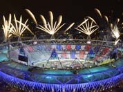 Fireworks ignite over the Olympic Stadium during the Opening Ceremony at the 2012 Summer Olympics in London.