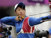 Taiwan`s Ta Ya-Ting aims for the target during an individual ranking round at the 2012 Summer Olympics in London.