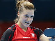 Natalia Partyka of Poland celebrates her win against Mie Skov of Denmark in the second round of the women`s singles table tennis at the 2012 Summer Olympics in London.