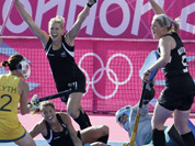 New Zealand`s Stacey Michelsen, celebrates scoring a goal in the first half of the women`s hockey competition preiminary round match against Australia at the 2012 Summer Olympics in London. 