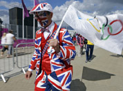 Michael Burn walks to the Olympic Park at the 2012 Summer Olympics in London. 