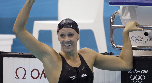 London Olympics swimming: Dana Vollmer wins gold with record time