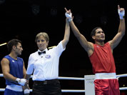Venezuela`s Gabriel Maestre Perez reacts after defeating Iran`s Amin Ghasemi Pour during their men`s welter 69-kg boxing match at the 2012 Summer Olympics.