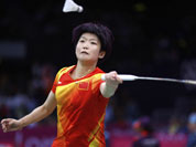 China`s Wang Xin plays against United States` Rena Wang at a women`s singles match of the 2012 Summer Olympics.