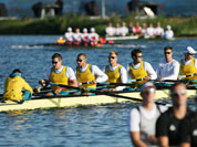 Australia`s Tobias Lister and team members Nicholas Rurnell, Matthew Ryan, Joshua Booth, Thomas Swann, Bryn Coudraye,  Francis Hegerty, and Samuel Loch train for the men`s rowing eight before the start of competition in Eton Dorney, near Windsor, England, at the 2012 Summer Olympics.