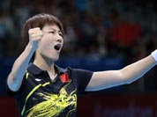 Ding Ning of China competes against Ai Fukuhara of Japan during the women`s singles table tennis competition at the 2012 Summer Olympics.
