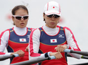 Japan`s Akiko Iwamoto, and Atsumi Fukumoto stroke during their lightweight women`s rowing double sculls repechage win Eton Dorney, near Windsor, England, at the 2012 Summer Olympics.