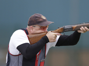 Norway`s Tore Brovold shoots during the second day of qualifiers for the men`s skeet event at the 2012 Summer Olympics in London.