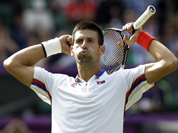 Novak Djokovic of Serbia celebrates his victory over Lleyton Hewitt of Australia at the All England Lawn Tennis Club in Wimbledon, London at the 2012 Summer Olympics.