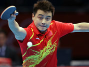 China`s Hao Wang returns a shot during a quarterfinals men`s table tennis match against Japan`s Seiya Kishikawa at the 2012 Summer Olympics in London.