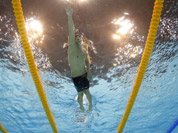 United States` Michael Phelps competes in the men`s 4x200-meter freestyle relay swimming final at the Aquatics Centre in the Olympic Park during the 2012 Summer Olympics in London.