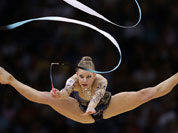 Australia`s Janine Murray performs during the rhythmic gymnastics individual all-around qualifications at the 2012 Summer Olympics in London.