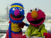 Grover and Elmo, from Sesame Street visit the Olympic Park in Stratford in east London.
