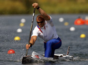 France`s Mathieu Goubel competes in the men`s canoe single 200-meter semifinal at the 2012 Summer Olympics in Eton Dorney, near Windsor, England.