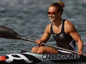 New Zealand`s Lisa Carrington smiles after winning the gold medal in the kayak single 200-meter women`s final at the 2012 Summer Olympics.