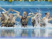 The team of Russia and winner of the gold medal competes during the women`s team synchronized swimming free routine at the Aquatics Centre in the Olympic Park during the 2012 Summer Olympics in London.