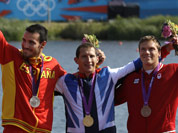 The winners of the men`s kayak single 200m pose at the podium in Eton Dorney, near Windsor, England, at the 2012 Summer Olympics. From left to right, Spain`s Saul Craviotto Rivero, silver medal, Great Britain`s Ed McKeever, gold medal, and Canada`s Mark de Jonge, bronze medal.