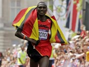 Wilson Kipsang Kiprotich of Uganda approaches the finish line to win the men`s marathon at the 2012 Summer Olympics in London.
