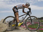 Germany`s Manuel Fumic competes in the Mountain Bike Cycling men`s race, at the 2012 Summer Olympics.