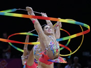 The gold medallist team from Russia performs during the rhythmic gymnastics group all-around final at the 2012 Summer Olympics.