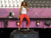 Melanie Brown (Scary Spice) rehearses ahead of the Spice Girls` performance at Olympic Stadium in the closing ceremony of the 2012 Summer Olympics, Sunday, Aug. 12, 2012, in London.