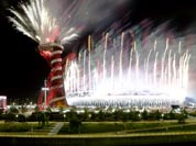 Fireworks explode during the Closing Ceremony of the 2012 Summer Olympics.