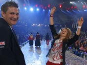 British diver Hannah Starling, right, reacts during the Closing Ceremony at the 2012 Summer Olympics.