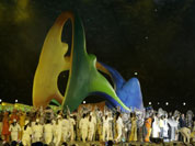 The Rio 2016 logo is paraded during the Closing Ceremony at the 2012 Summer Olympics, Sunday, Aug. 12, 2012, in London.