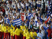 Athletes arrive during the Closing Ceremony at the 2012 Summer Olympics, Sunday, Aug. 12, 2012, in London.