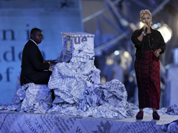 Emeli Sande performs during the Closing Ceremony at the 2012 Summer Olympics, Sunday, Aug. 12, 2012, in London.