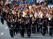 Japanese athletes march into stadium during the Closing Ceremony at the 2012 Summer Olympics, Sunday, Aug. 12, 2012, in London. 