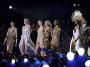 British model Naomi Campbell, fourth right, walks with other models during the Closing Ceremony at the 2012 Summer Olympics, Sunday, Aug. 12, 2012, in London.