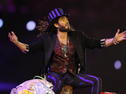 British actor Russell Brand performs during the Closing Ceremony at the 2012 Summer Olympics, Sunday,