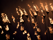 The cauldron burns during the Closing Ceremony at the 2012 Summer Olympics, Sunday,