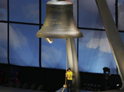 Tour de France champion Bradley Wiggins ring a bell during the Opening Ceremony at the 2012 Summer Olympics in London.