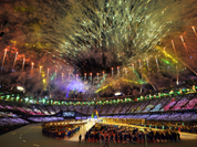 Fireworks explode over the stadium during the Closing Ceremony at the 2012 Summer Olympics, Sunday, Aug. 12, 2012, in London